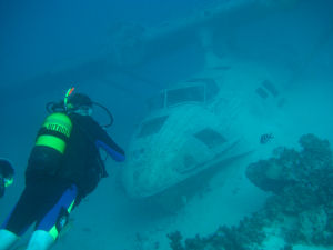 Sunken Catalina flying boat on a reef in Tahiti