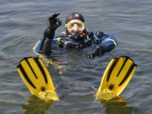 Happy scuba diving
